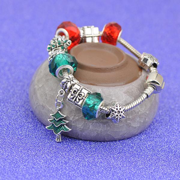 Argent Charme Bracelets Fit Pandora Femelle Rouge Vert Cristal Perles De Verre Bracelet Fleur Pendentifs De Flocon De Neige De Noël Cadeau Bijoux Best4UU