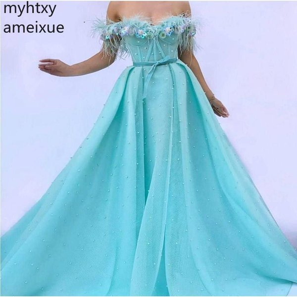 New Custom Plus Size Evening Dresses Long 2019 Dubai Party Event Dress Pearls Beaded Gown Formal Women Elegant Robe De Soiree