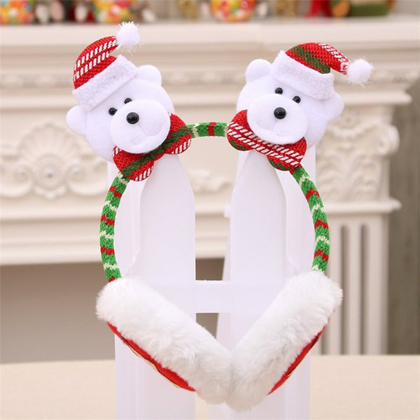 Christmas Earmuffs Santa Claus Snowman Earmuff Adult children Warm Winter Plush Hair Sticks Cartoon Christmas Decorations 50pcs T1I1679
