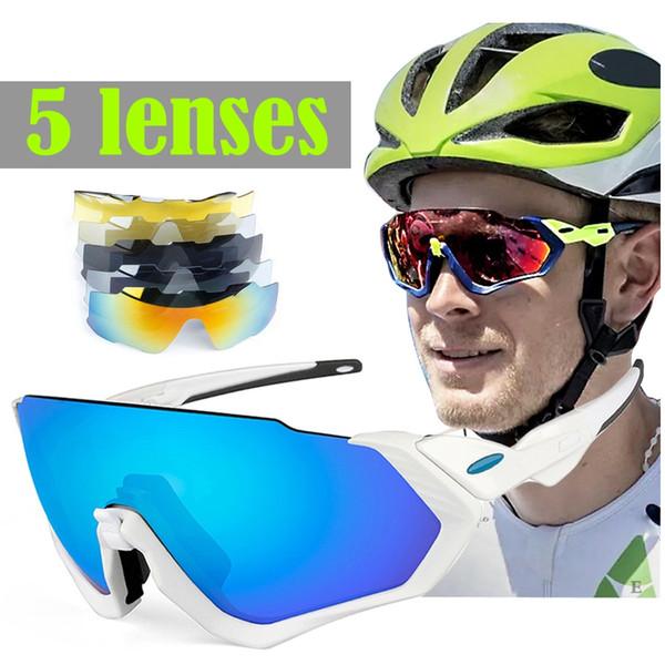 5 Lens Cycling Glasses Polarized Glasses for bicycle 2018 Men Women Bike Eyewear Black White Green Pink Orange 6 Color Frame #42780