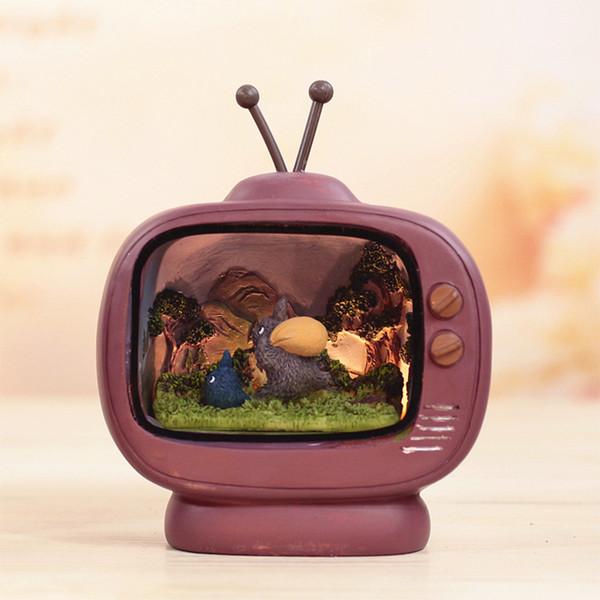 Criativo Resina Mesa Decorativa Totoro Dos Desenhos Animados Caixa de TV Cena LEVOU Luz Da Noite De Cabeceira Novidade Crianças Mesa Lampe Lampara
