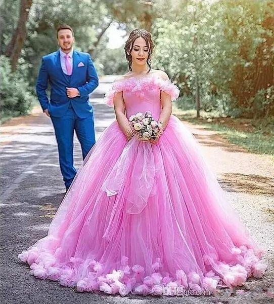 Vestido De Formatura Pink Princess Inchado Vestidos Quinceanera 2020 Floral 3d Modest Handmade Flor Off Ombro Saia Royal Train Dubai árabe Prom