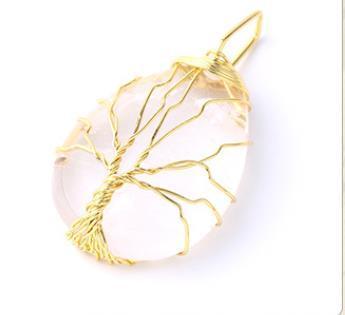 Damla Tipi Doğal Kristal Yarı Değerli Taş kolye kolye Sarma Altın Gümüş