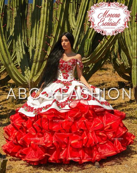 Compre Vestidos De Quinceañera Charro Con Volantes Florales 2020 Fuera Del Hombro Falda Hinchada Bordado De Encaje Princesa Sweety 16s Vestido De