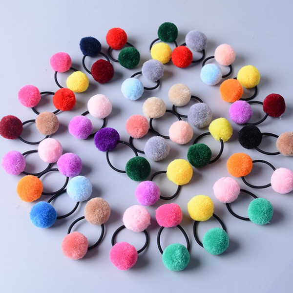 Cute Little Girls' Pompom Ties Double Pom Elastic Hair Band Ropes Hair Accessories HT059