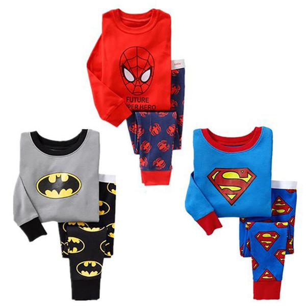 Yeni Varış Bebek Erkek Superman Pijama Çocuk Pijamas Suits Çocuklar Baskılı Sleepwears Pijama Karikatür Giyim setleri