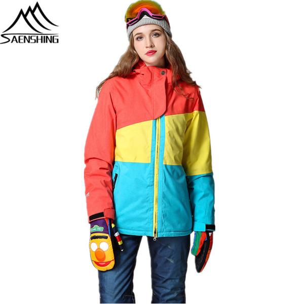 SAENSHING Marka Kayak Ceket Kadın Snowboard Ceketler Su Geçirmez Rüzgar Geçirmez Kızlar Kar Ceket Nefes Sıcak açık Kayak Giyim