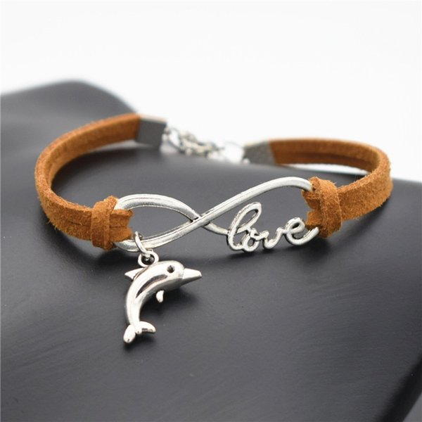 Fashion Women Men Beach Cute Animal Lovely Tibetan Silver Dolphin Charm Infinity Brown Leather Suede Cuff Bracelets Family Love Gift Jewelry