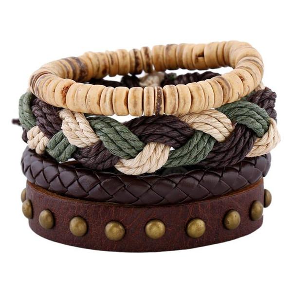 11 styles fashion 4 piece set genuine leather bracelet Retro unisex couple hand rope personalized jewelry exclusive birthday gift pksp6-7