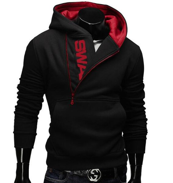large size! Designer men's sweater pullover side zipper hit color luxury hooded men's sweater free shipping