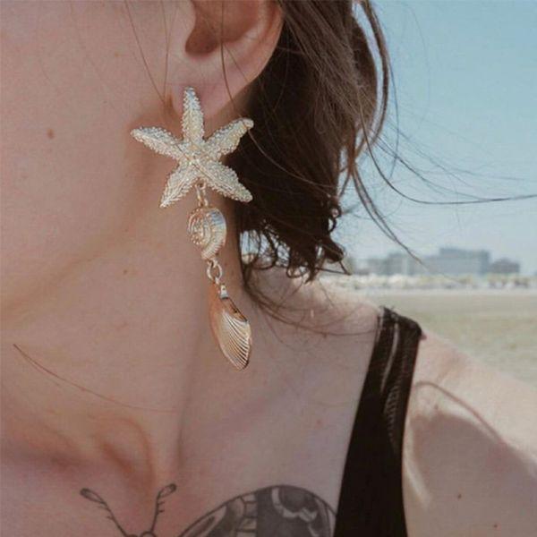 JOUVAL Summer Beach Ear Jewelry Ocean Starfish Shell Shape Metal Drop Dangle Earrings For Women Female Sandy Eardrop Brincos