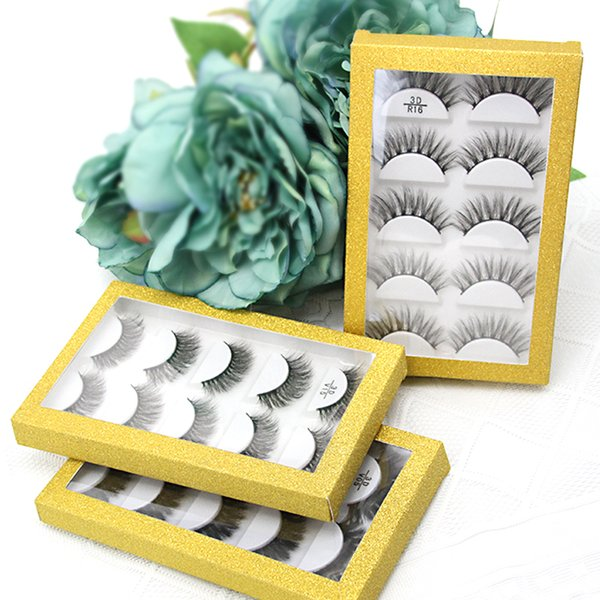 5 Layers False Eyelash Storage gold glitter packaging Box 5 pairs strip Lashes Container Plastic Pink and Transparent Clear Eyelash Case