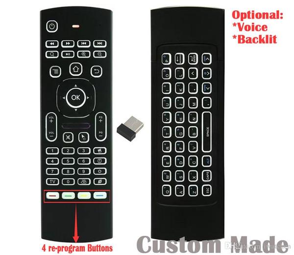 10pcs Custom Made MX3 T3 RF/2.4GHz Re-program Wireless Air Mouse Mini Keyboard Backlit Remote Controller Game Player Gyroscope G-sensor TV