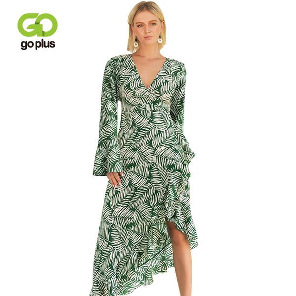 wholesale Boho Chic Leaves Print Maxi Dress V-neck Long Flare Sleeve Women Dresses 2019 Spring Bohemia Femme Dresses C6896