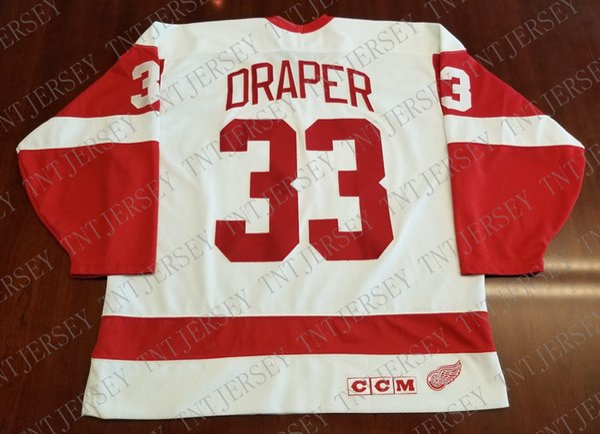 Cheap custom Kris Draper Vintage Detroit Red Wings CCM Jersey Stitched Retro Hockey Jersey XS-5XL