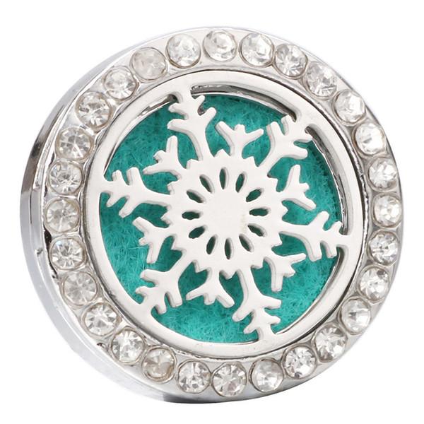 Nuovo Aromaterapia Fiocco di neve 18mm Bottoni a pressione Profumo Medaglione Magnetico in acciaio inox Diffusore di olio essenziale Snap gioielli regalo di Natale