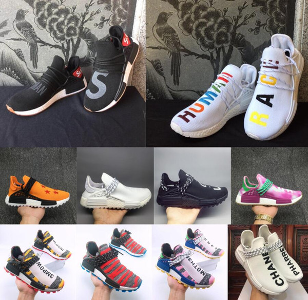 best sneakers f2775 5afd9 NMD X Pharrell Williams Ink Human Race Designer Shoes BBC HU Solar Pack  Equality Oreo Sun Glow You Nerd Designer Sneakers 36 47 Sport Shoes  Skechers ...