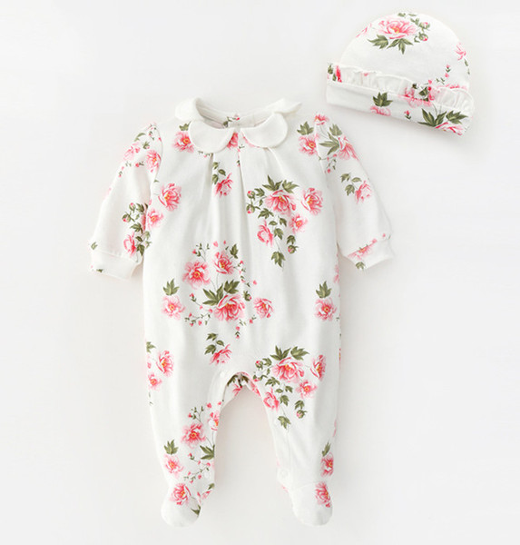 Autumn infant floral romper Cute baby girls petals lapel long sleeve jumpsuit +falbala hat 2pcs set newborn kids cotton Onesie Y2560