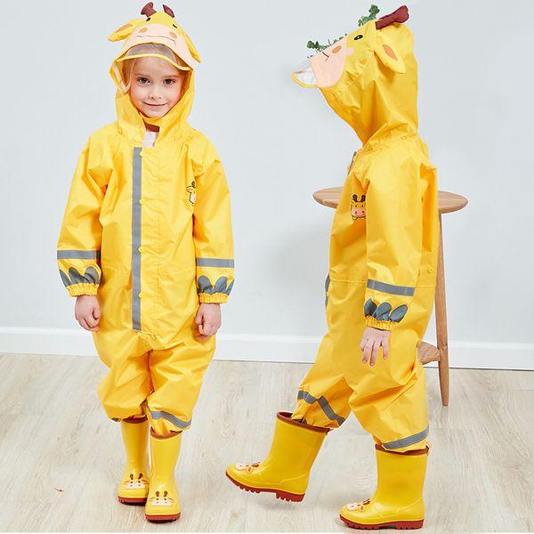 Cartoon Animal Polyester Jumpsuit Rain Coat Cute Kids Waterproof Raincoat Children Reflective Belt Big Hat Poncho Baby Rainwear