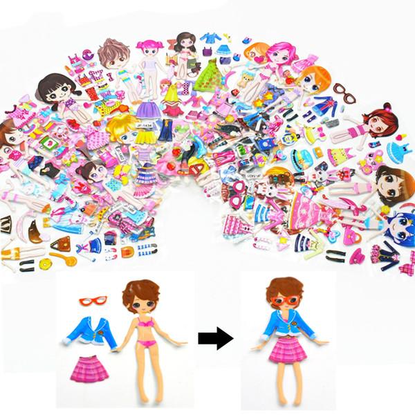 Compre 100 Unids Lote Vestir Niñas Pegatinas 3d Juguetes Para Niños Dibujos Animados Niños Niñas Muñecas Pegatinas De Pvc Pegatinas De Burbujas De