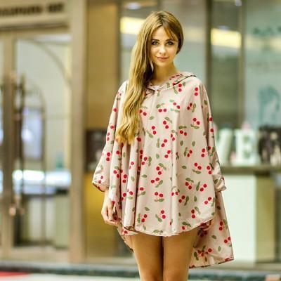 2017 New Capa De Chuva Rain Coat Korean Fashion Cherry Poncho Thickened Travel Leisure Raincoat Code Adult Electric Car Woman