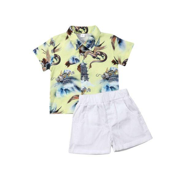 Toddler Baby Boys Джентльмен Формальный свадебный костюм Cartton Классическая рубашка + шорты Летняя одежда Одежда 0-5Y Dropshipping