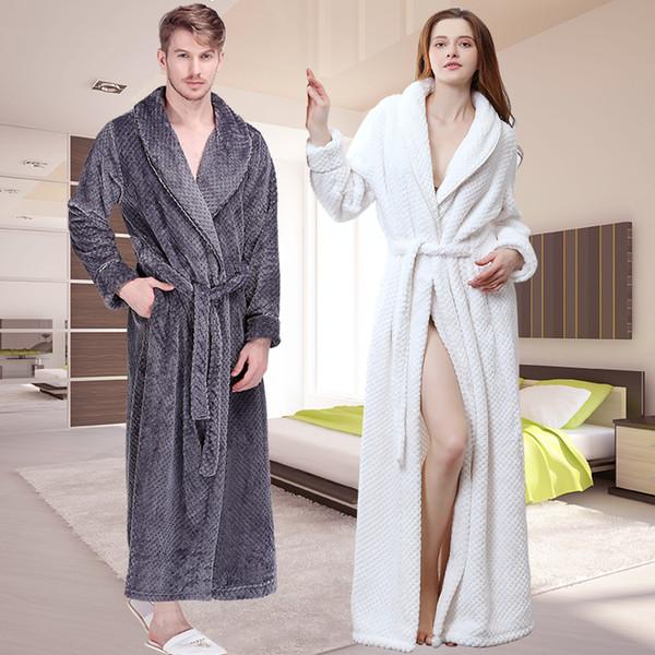 Kadınlar Kış Ekstra Uzun Kalın Izgara Flanel Banyo Robe Yumuşak Sabahlığı Seksi Sıcak Sabahlık Erkekler Bornoz Nedime Düğün RobesMX190822