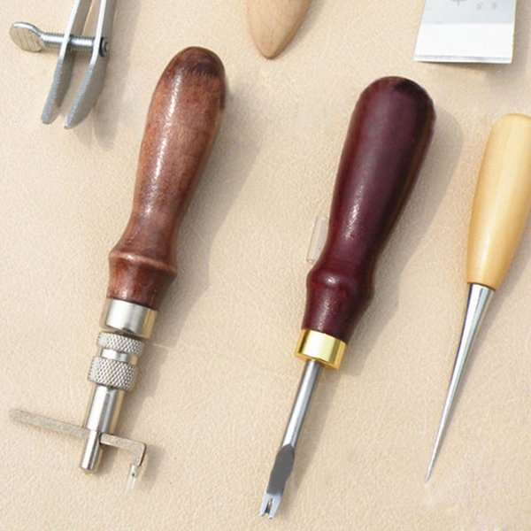 6pcs New Leather Craft Tool Set Tools Kit For Leathercraft Stamp Craf Punch Hole _WK