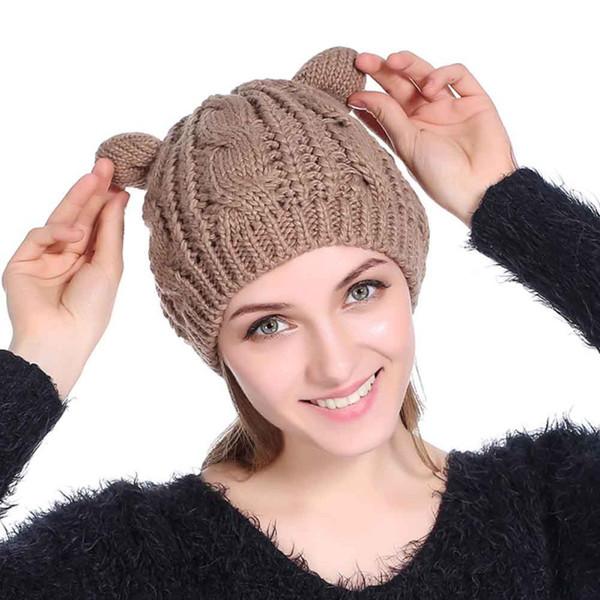 9 Styles Winter Windproof Sport Hat Outdoor Women Cat Ear Hiking Caps Knit Ski Cap New Arrival