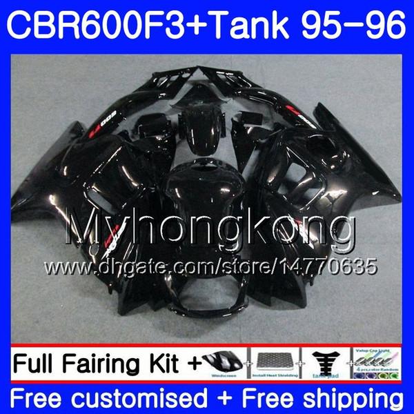Cuerpo + Tanque para HONDA CBR 600 F3 FS CBR600FS CBR600 F3 95 96 289HM.48 CBR600RR CBR600F3 Fábrica negro caliente 95 96 CBR 600F3 1995 1996 Carenado