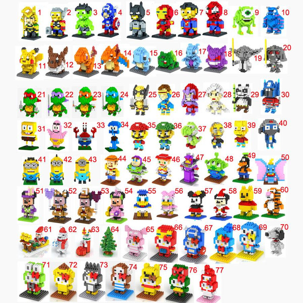 2004 pcs 18 Colors Mini Block Set Compatible with nanoblock LOZ Diamond Block