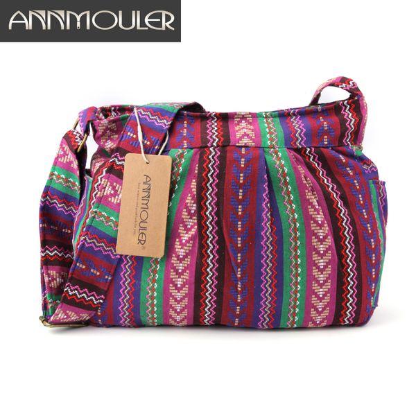Annmouler Women's Bag Quality Crossbody Bag Large Capacity Tribal Multi-pockets Cotton Purse Bohemian Style Hobo