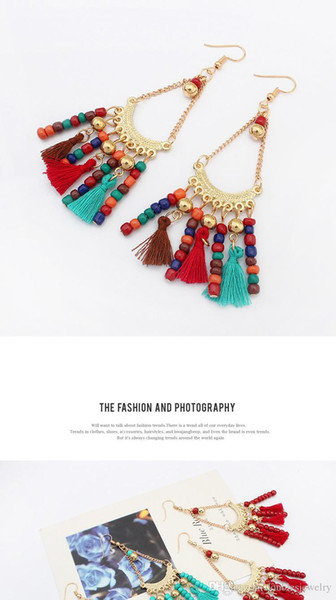 Simple and elegant fashion earrings Earrings Handmade small Tassel Earrings New Retro folk style beautiful in the eyes of the manufacturers