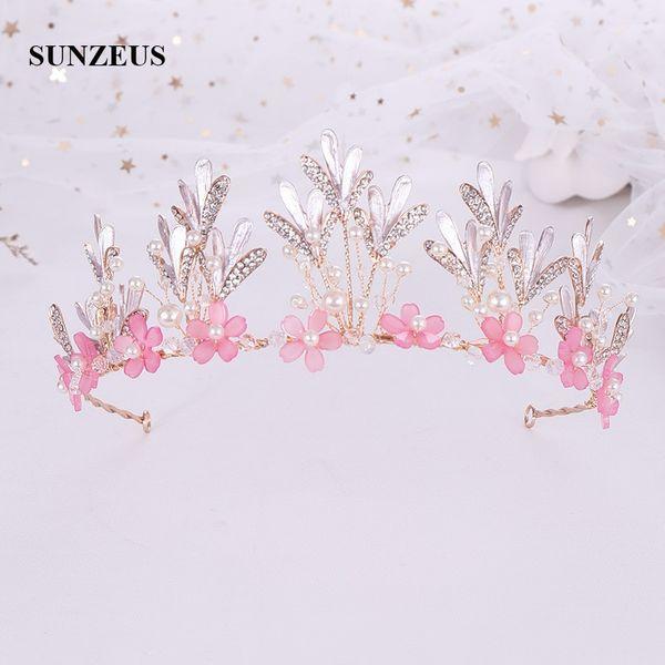 Pink Flowers Girls Crowns Crystals Beaded Leaves Children Tiaras Wedding Flower Girl Head Accessories Kids Headband SQ420