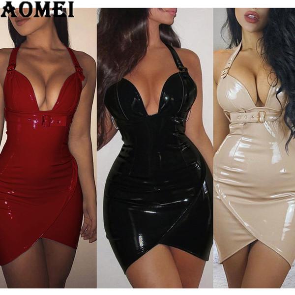 Women PU Dress 2019 Sexy Tight Deep V Neck PVC Wet Look Leather with Waist Belt Sheath Slim Dresses Red Black Bodycon Club Wear