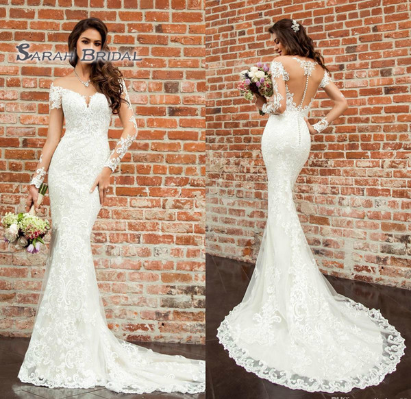 best selling 2019 Vintage White Mermaid Wedding Dress Sexy Long Sleeves Backless Lace Bridal Evening Wear Formal Gown High-end Wedding Boutique