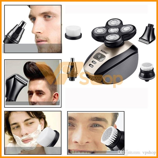 Kemei KM-1000 Electric Shaver 5 in 1 Head Nose Face Beard Electric Shaving Trimmers 5 Blade Rechargeable Razors Washable Men Hair Clipper