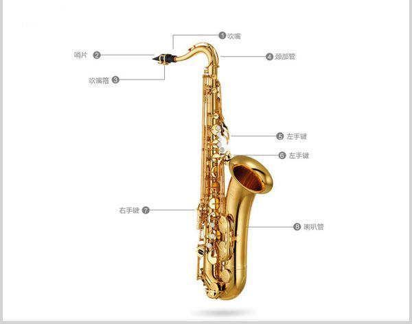 Japan professional Saxophone 280 Bb Electrophoresis gold Key brass sax Tenor saxofone musical instruments Mouthpiece Hard box free shipping