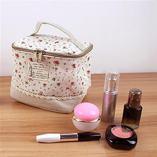 Travel Dot Floral Kosmetik Make-up Bag Kultur Organizer Lunchbox Aufbewahrungstasche Reißverschluss Kosmetiktaschen Cases Stoff tonnenförmige