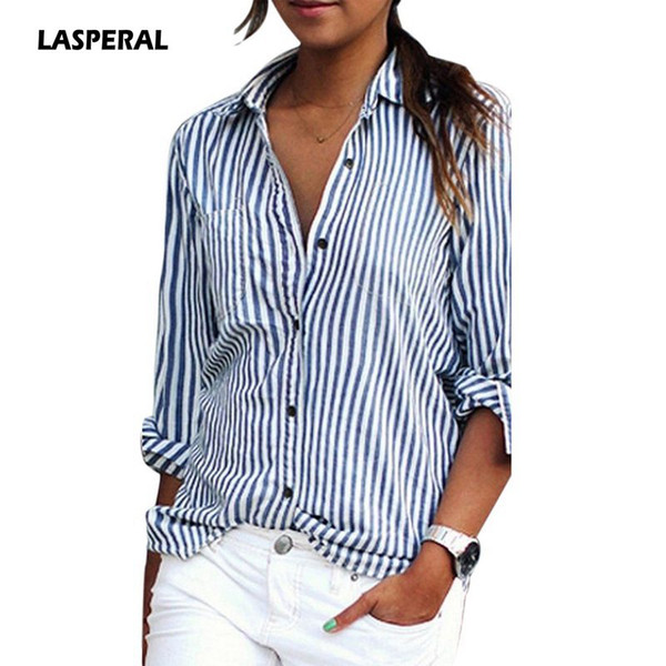 LASPERAL 2019 Long Sleeve Striped Women Shirts Turn-Down Collar Blousa Femme Spring Autumn Casual Sexy Tee Tops Streetwear Shirt