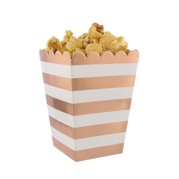 24 piezas Foil Rose Gold Popcorn Box Small 5x7x11.5cm Favor de fiesta Cajas de regalo Metálicas A través de cajas de rayas Bolsas de dulces de cumpleaños
