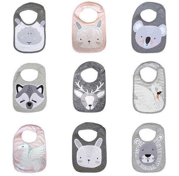 8 styles INS Baby Bibs towel Animals swan Bear fox rabbit butterfly print Burp Cloths Soft cotton U shape Feeding Scarf C6302
