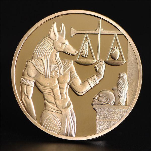 Plaqué Or Egypte Protecteur De La Mort Anubis Pièce Copie Coins Dieu Égyptien De La Mort Pièces commémoratives Collection Cadeau