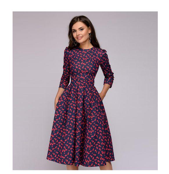 Les femmes élégantes A-ligne de robe 2019 impression vintage de partie Vestidos manches trois-quarts des femmes Robe printemps (pas de poches)