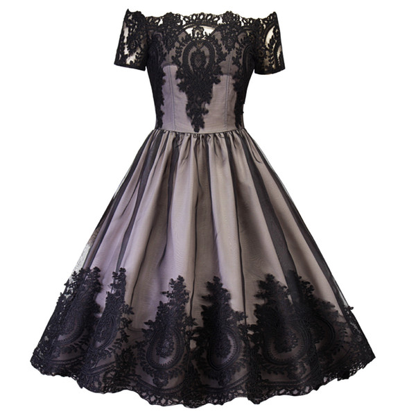 2019 A Line Black Gold Gothic Short Evening Dresses Short Sleeves Knee Length Lace Women Prom Dresses Sexy Mother Of Bride Gowns