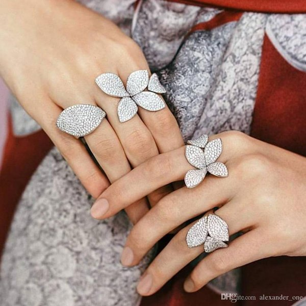 Luxo GRANDE 100% 925 sterling silver open Anéis de flores delicalte menina Mulheres Presente de natal bonito prata Resizable anel de Jóias