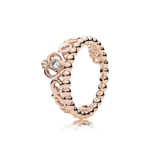 18 K Gül altın CZ Elmas Taç Yüzük Seti Orijinal Kutusu Pandora için 925 Ayar Gümüş Benim Prenses Tiara Yüzük Set Kadınlar Düğün takı