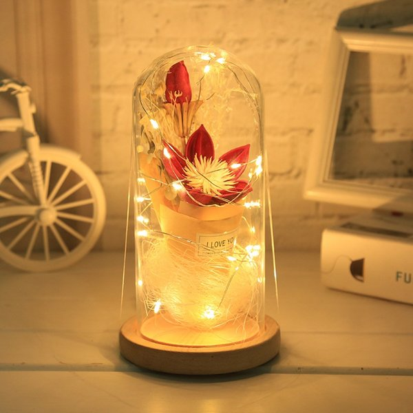2019 Rose Light Red Rose Flower Vase Party Decorations LED String Light  Valentine Day Flowers Christmas Mother\u0027S Day Gift From Esw_house, $10.47
