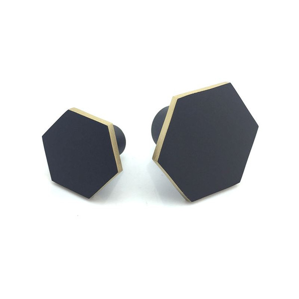 top popular Hexagon Brass Kitchen Cabinet Knobs and Pulls Matte Black Drawer Dresser Cupboard Wardrobe Knobs Handles Hardware 2021
