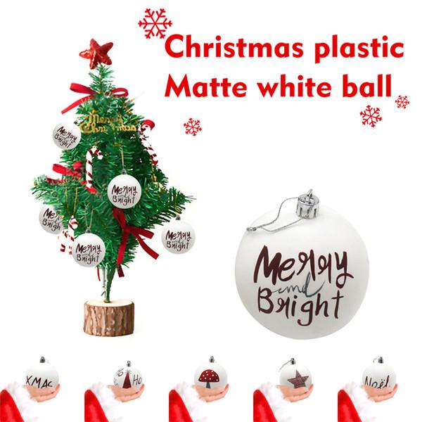 6 стилей Рождественский бал Фенечки Главная Праздничные Атрибуты Елочные украшения Матовый Белый Шар Xmas Tree Висячий Орнамент Декор DHL JY440